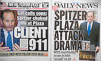 Front pages of the New York Post and the New York Daily News on Monday, February 15, 2016 report on former New York Governor Eliot Spitzer allegedly assaulting a woman in the Plaza Hotel on the previous day. (©  Richard B. Levine)