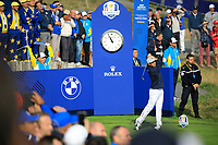 Rickie Fowler (Team USA) at the Ryder Cup, Le Golf National, Paris, France. 27/09/2018.<br /> Picture Phil Inglis / Golffile.ie<br /> <br /> All photo usage must carry mandatory copyright credit (© Golffile | Phil Inglis)