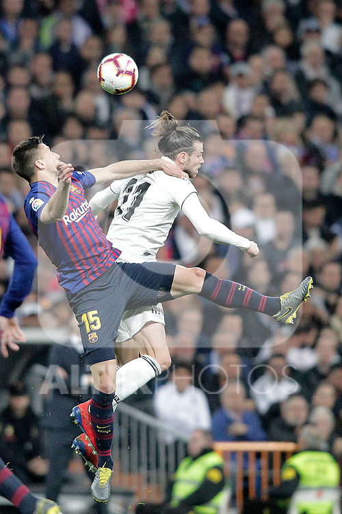 Real Madrid CF's Gareth Bale and FC Barcelona's Gerard Pique during La Liga match. March 02,2019. (ALTERPHOTOS/Alconada)