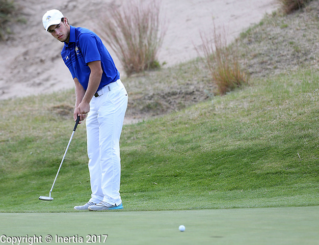 VALENTINE, NE - OCTOBER 3: Jacob Otta from South Dakota State rolls his birdie putt on the 5th hole during the final round of the South Dakota State Invitational Tuesday at The Prairie Club in Valentine, NE. (Photo by Dave Eggen/Inertia)