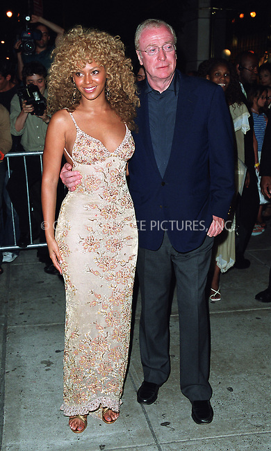 "Michael Caine and Beyonce Knowles arriving at the New York Premiere of ""Austin Powers in Goldmember"" at Barney's New York on Madison Avenue in New York. July 24, 2002. Please byline: Alecsey Boldeskul/NY Photo Press.   ..*PAY-PER-USE*      ....NY Photo Press:  ..phone (646) 267-6913;   ..e-mail: info@nyphotopress.com"