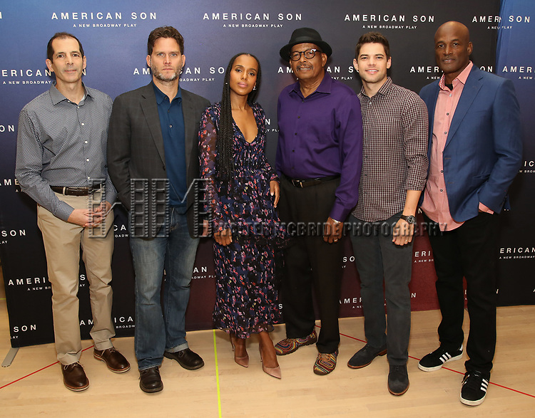 """The American Son team: playwright Christopher Demos-Brown, cast members Steven Pasquale, Kerry Washington, Eugene Lee, and Jeremy Jordan, and director Kenny Leon. attend the Cast photo call for the New Broadway Play """"American Son"""" on September 14, 2018 at the New 42nd Street Studios in New York City."""