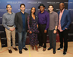 "The American Son team: playwright Christopher Demos-Brown, cast members Steven Pasquale, Kerry Washington, Eugene Lee, and Jeremy Jordan, and director Kenny Leon. attend the Cast photo call for the New Broadway Play ""American Son"" on September 14, 2018 at the New 42nd Street Studios in New York City."