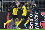 05.11.2019, Signal Iduna Park, Dortmund, GER, CL, Borussia Dortmund vs Inter Mailand<br /> , DFL regulations prohibit any use of photographs as image sequences and/or quasi-video <br /> <br /> im Bild Achraf Hakimi Mouh (#5, Borussia Dortmund) jubelt nach seinem Tor zum 3:2 mit Thorgan Hazard (#23, Borussia Dortmund) mit Julian Brandt (#19, Borussia Dortmund) <br /> <br /> Foto © nordphoto/Mauelshagen