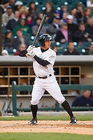 Tyler Saladino (8) of the Charlotte Knights at bat against the Gwinnett Braves at BB&T Ballpark on April 16, 2014 in Charlotte, North Carolina.  The Braves defeated the Knights 7-2.  (Brian Westerholt/Four Seam Images)