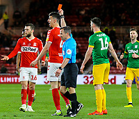Referee Keith Stroud shows Middlesbrough's Daniel Ayala the red card<br /> <br /> Photographer Alex Dodd/CameraSport<br /> <br /> The EFL Sky Bet Championship - Middlesbrough v Preston North End - Wednesday 13th March 2019 - Riverside Stadium - Middlesbrough<br /> <br /> World Copyright &copy; 2019 CameraSport. All rights reserved. 43 Linden Ave. Countesthorpe. Leicester. England. LE8 5PG - Tel: +44 (0) 116 277 4147 - admin@camerasport.com - www.camerasport.com