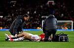 Zlatan Ibrahimovic of Manchester United receives treatment for an injury during the UEFA Europa League Quarter Final 2nd Leg match at Old Trafford, Manchester. Picture date: April 20th, 2017. Pic credit should read: Matt McNulty/Sportimage