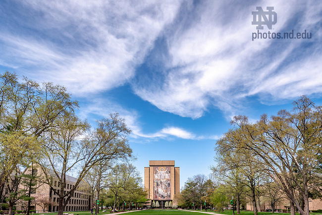 May 4, 2018; Hesburgh Library quad (Photo by Matt Cashore/University of Notre Dame)