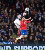 23rd March 2018, Hampden Park, Glasgow, Scotland; International Football Friendly, Scotland versus Costa Rica; Callum Paterson of Scotland beats Bryan Oviedo of Costa Rica in the air
