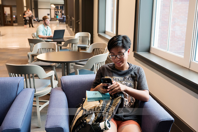 Old Main Academic Center - first day of classes.  Students in between classes: English major Joy Carino at lounge area.<br />  (photo by Megan Bean / &copy; Mississippi State University)