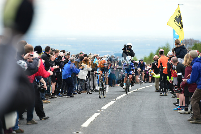 The breakaway VAN EMPEL Etienne (RNL) - LOWSLEY-WILLIAMS James (BIK) - MADRAZO Angel (DMP) during Stage 1 of the Tour de Yorkshire 2017 running 174km from Bridlington to Scarborough, England. 28th April 2017. <br /> Picture: ASO/P.Ballet | Cyclefile<br /> <br /> <br /> All photos usage must carry mandatory copyright credit (&copy; Cyclefile | ASO/P.Ballet)
