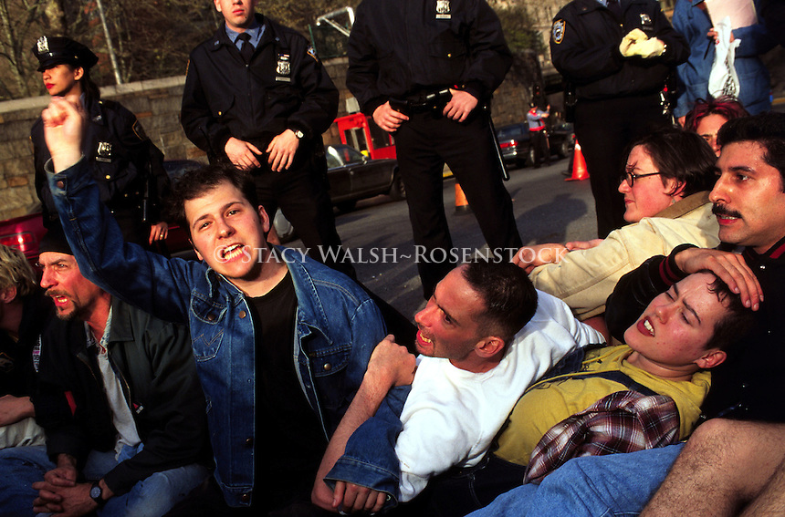 (020129-SWR04.jpg) 25 Apr 95 - New York, NY -- ACT-UP shut down the Midtown Tunnel to protest Giuliani's budget cuts which wojuld effect AIDS and other Health services. The direct action was one of five planned to shut down the city.