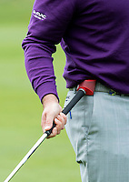 Graeme McDowell of Northern Ireland uses his Game Golf GPS Digital Tracking Device during a Pro-Am round ahead of the 2015 British Masters at the Marquess Course, Woburn, in Bedfordshire, England on 7/10/15.<br /> Picture: Richard Martin-Roberts   Golffile