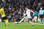 Theo Hernandez of Real Madrid (R) dribbles Borussia Dortmund Defender Marc Bartra (L) during the Europe Champions League 2017-18 match between Real Madrid and Borussia Dortmund at Santiago Bernabeu Stadium on 06 December 2017 in Madrid Spain. Photo by Diego Gonzalez / Power Sport Images