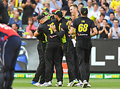 10th February 2018, Melbourne Cricket Ground, Melbourne, Australia; International Twenty20 Cricket, Australia versus England; Australian players celebrate after claiming the opening wicket of the game
