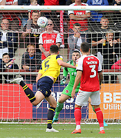 Fleetwood Town's Matt Gilks is beaten by the header of Oxford United's Elliott Moore (No.5) for their sides equalising goal to make the score 1-1<br /> <br /> Photographer Rich Linley/CameraSport<br /> <br /> The EFL Sky Bet League One - Fleetwood Town v Oxford United - Saturday 7th September 2019 - Highbury Stadium - Fleetwood<br /> <br /> World Copyright © 2019 CameraSport. All rights reserved. 43 Linden Ave. Countesthorpe. Leicester. England. LE8 5PG - Tel: +44 (0) 116 277 4147 - admin@camerasport.com - www.camerasport.com