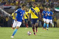 Action photo during the match Brazil vs Ecuador, Corresponding Group -B- America Cup Centenary 2016, at Rose Bowl Stadium<br /> <br /> Foto de accion durante el partido Brasil vs Ecuador, Correspondiante al Grupo -B-  de la Copa America Centenario USA 2016 en el Estadio Rose Bowl, en la foto:  Jaime Ayovi de Ecuador<br /> <br /> <br /> 04/06/2016/MEXSPORT/Victor Posadas.