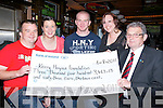 PEAKS: Members of the Kerry Four Peaks 2011 who presented a cheque of EUR3,463-13 to Ted Moynihan of the Kerry Hospice Foundation, on Saturday night in The Blasket Inn, Tralee, l-r: Kevin Maguire, Mags Gaynor,Seamus Naughton, Eilish Conneely(Four Peaks 2011) and Ted Moynihan (KHF).