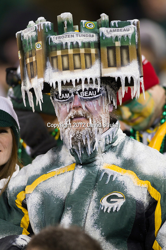 Green Bay Packer fan Jeff Kahlow looks on during an NFL divisional playoff football game against the Green Bay Packers on January 15, 2012 in Green Bay, Wisconsin. The Giants won 37-20. (AP Photo/David Stluka)