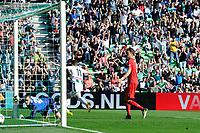 GRONINGEN - Voetbal, FC Groningen - FC Twente,  Eredivisie , Noordlease stadion, seizoen 2017-2018, 24-09-2017,   FC Groningen speler Oussama Idrissi loopt juichend weg na de 1-0