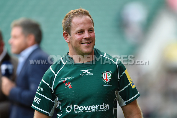 David Paice of London Irish is all smiles after the match. Aviva Premiership match, between London Irish and Harlequins on September 2, 2017 at Twickenham Stadium in London, England. Photo by: Patrick Khachfe / JMP