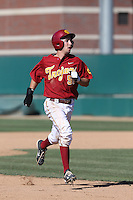 Garrett Stubbs (51) of the Southern California Trojans runs the bases during a game against the Oregon Ducks at Dedeaux Field on April 18, 2015 in Los Angeles, California. Oregon defeated Southern California, 15-4. (Larry Goren/Four Seam Images)