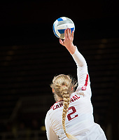 STANFORD, CA - December 1, 2018: Kathryn Plummer at Maples Pavilion. The Stanford Cardinal defeated Loyola Marymount 25-20, 25-15, 25-17 in the second round of the NCAA tournament.