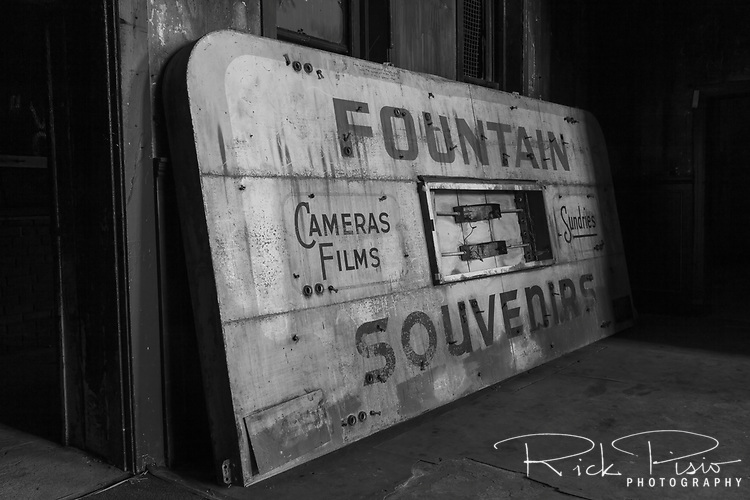 The soda fountain sign that once beckoned commuters and travelers sits on the floor at the abandoned 16th St. railroad station in Oakland, California