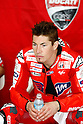 February 5, 2010 - Kuala Lampur, Malaysia - American rider Nicky Hayden (Ducati Marlboro) takes a break in his box during the final day of the MotoGP test on Sepang International Circuit on February 5, 2010. (Photo Andrew Northcott/Nippon News)