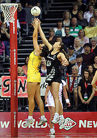 01.11.2012 Silver Ferns Irene Van Dyk and Australia's Bianca Chatfield in action during the netball test match between the Silver Ferns and Australia as part of the Quad Series played at the Claudelands Arena in Hamilton. Mandatory Photo Credit ©Michael Bradley.
