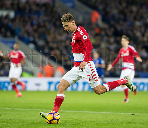 26.11.2016. King Power Stadium, Leicester, England. Premier League Football. Leicester City versus Middlesbrough. Middlesbrough midfielder Gaston Ramirez  passes the ball into the Leicester City goal area.