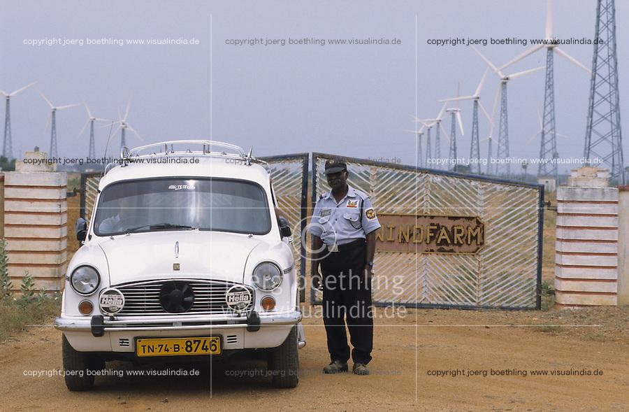 INDIA, Tamil Nadu, Kanyakumari, Cape Comorin, Muppandal, windfarm with Vestas wind turbine on lattice steel tower, HM Ambassador car / INDIEN Kanniyakumari, Kap Komorin, Windpark mit Vestas Windkraftanlagen auf Stahlgittermast, HM Ambassador PKW