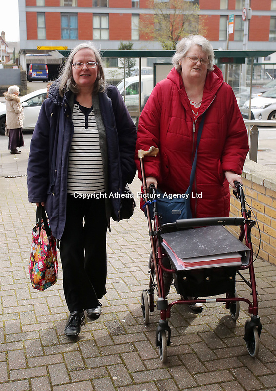 Pictured: Regina Hungerford (L) leaves Eastgate Houise after the hearing in Cardiff, Wales, UK. Thursday 30 March 2017<br /> Re: Regina Hungerford, 56, a long-serving teacher has been banned for four months by a Teacher Misconduct hearing in Cardiff, Wales, after she threw the mobile phone belonging to Shane Jenkins, out of a classroom window.