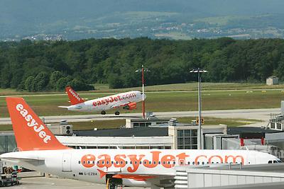Genève, le 30.05.2007.Aéroport de cointrin à Genève, avion de la compagnie Easy jet..© J.-P. Di Silvestro..