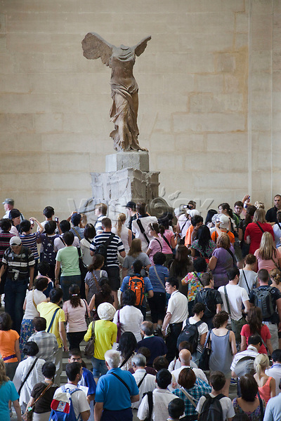 """""""France,Paris,Louvre,Tourist Crowds and the Winged Victory of Samothrace"""""""