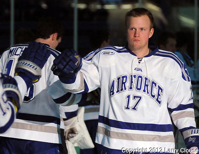 March 10, 2012:  Air Force center, Chad Demers (17), prior to quarterfinal Atlantic Hockey Association tournament action between the UConn Huskies and the Air Force Academy Falcons at Cadet Ice Arena, U.S. Air Force Academy, Colorado Springs, CO.  UConnn defeats Air Force 3-1 to even the best of three series.