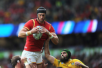 Luke Charteris of Wales wins the lineout as Scott Fardy of Australia attempts to hinder him during Match 35 of the Rugby World Cup 2015 between Australia and Wales - 10/10/2015 - Twickenham Stadium, London<br /> Mandatory Credit: Rob Munro/Stewart Communications