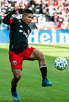 WASHINGTON, DC - FEBRUARY 29: Edison Flores #10 of DC United controls the ball during a game between Colorado Rapids and D.C. United at Audi Field on February 29, 2020 in Washington, DC.