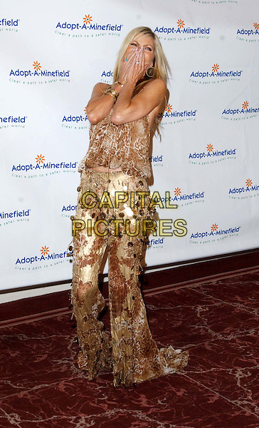 SHAWN SOUTHWICK.3rd Annual Adopt-A-Minefield Benefit Gala, Beverly Hilton Hotel.full length, full-length, animal print, gold, metallic, funny, laughing, fashion-disaster.www.capitalpictures.com.sales@capitalpictures.com.©Capital Pictures.