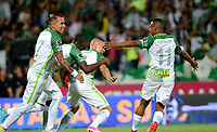 MEDELLÍN - COLOMBIA - 18 - 06 - 2017: Los jugadores de Atletico Nacional celebran el gol anotado a Deportivo Cali, durante partido de vuelta, de la final entre Atletico Nacional y Deportivo Cali, por la Liga Águila I 2017, jugado en el estadio Atanasio Girardot de la ciudad de Medellín. / The players of Atletico Nacional, celebrate a goal scored to Deportivo Cali,  during a match of the second leg of the final between Atletico Nacional and Deportivo Independiente Medellin for the Aguila League I 2017, played at Atanasio Girardot stadium in Medellin city. Photo: VizzorImage / León Monsalve / Cont.
