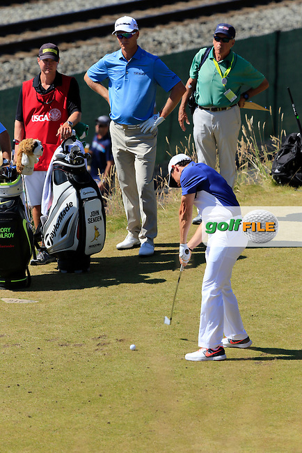 Rory MCILROY (NIR) tees off the 17th tee during Sunday's Final Round of the 2015 U.S. Open 115th National Championship held at Chambers Bay, Seattle, Washington, USA. 6/21/2015.<br /> Picture: Golffile | Eoin Clarke<br /> <br /> <br /> <br /> <br /> All photo usage must carry mandatory copyright credit (&copy; Golffile | Eoin Clarke)