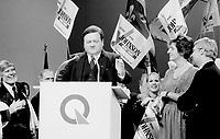 FILE PHOTO : Jean Garon lors de la course ‡ la chefferie du Parti QuÈbÈcois, le 29 septembre 1985<br /> <br /> PHOTO : Denis Alix -  Agence Quebec Presse