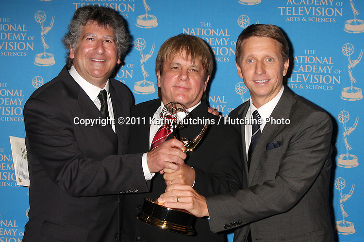 LOS ANGELES - JUN 17:  David Kurtz, Jack Allocco, Bradley P. Bell in the Press Area at the 38th Annual Daytime Creative Arts & Entertainment Emmy Awards at Westin Bonaventure Hotel on June 17, 2011 in Los Angeles, CA