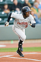 Xavier Avery #32 of the Frederick Keys hustles down the first base line against the Winston-Salem Dash at  BB&T Ballpark April 28, 2010, in Winston-Salem, North Carolina.  Photo by Brian Westerholt / Four Seam Images
