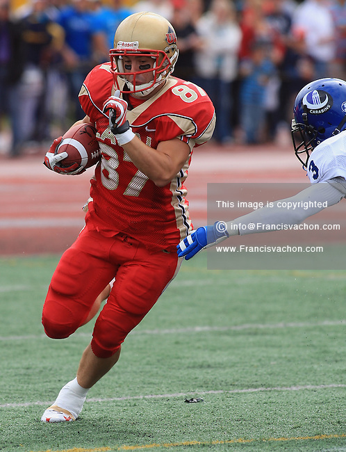 Rouge et Or de l'universite Laval's Victor Tremblay in CIS football action against the Carabins de l'Universite de Montreal at the universite Laval stadium in Quebec City, September 7, 2008. Laval won 17-6 before a crowd of 15,275.