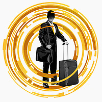 Business traveller in the middle of abstract technology pattern ExclusiveImage