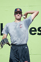 Chris Seddon of the Bakersfield Blaze throws before a game against the Inland Empire 66ers at Stater Bros Stadium on July 8, 2003 in San Bernardino, California. (Larry Goren/Four Seam Images)
