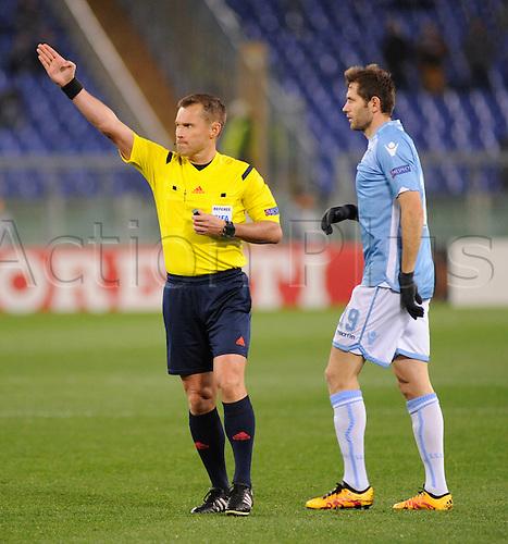 25.02.2016. Stadio Olimpico, Rome, Italy. Uefa Europa League, Return leg of SS Lazio versus Galatasaray. The referee Vladislav Bezborodov