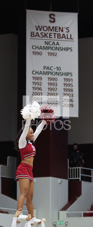 STANFORD, CA - January 22, 2011:  A cheerleader during a gamebreak in Stanford's 95-51 victory over USC on January 22, 2011.