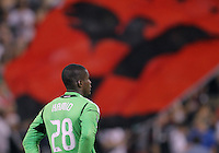 WASHINGTON, DC. - AUGUST 22, 2012:  Bill Hamid (28) of DC United against the Chicago Fire during an MLS match at RFK Stadium, in Washington DC,  on August 22. United won 4-2.